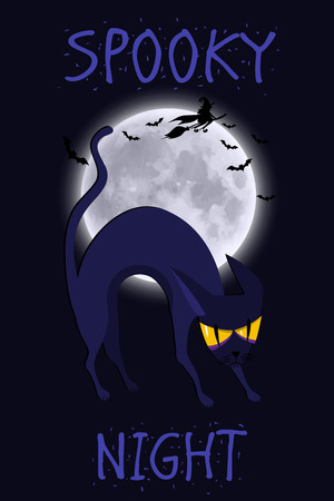 Halloween vector poster, banner or flyer halloween template, spooky cat and objects. Spooky night