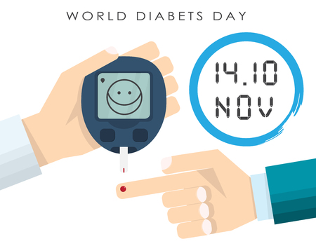 doctors hand measures the blood sugar level of the patient. The layout of the meter with a set of numbers. concept world diabetes day