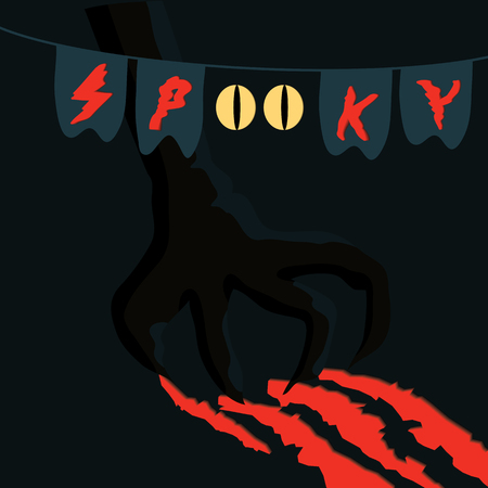 Halloween spooky vector poster, banner or flyer halloween template, monster's paw with claws