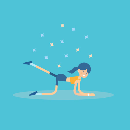 Cute female character performing back leg lifts pilates exercise. Women health and fitness