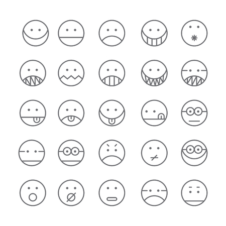 Set of Emoticon with simple line design style, social media reactions