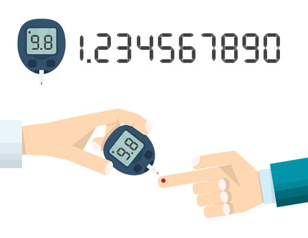 doctors hand measures the blood sugar level of the patient. The layout of the meter with a set of numbers. Ð¡oncept of diabetes