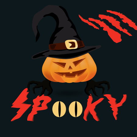 Halloween spooky vector poster, banner or flyer halloween template, spooky pumpkin and objects.