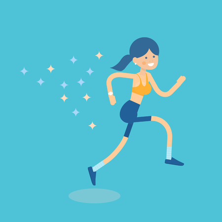 Beautiful woman vector illustration of female character running forward to the target. Women health and fitness