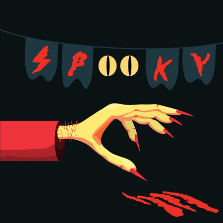 Halloween vector poster - hand of a monster with claws will leave bloody stripes, banner or flyer halloween template, spooky poster for Halloween