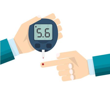 Diabetes test concept, mans hand and glucometer measures the blood sugar level. Medical blood diagnostic drop test strip. Vector illustration flat style design. Illustration