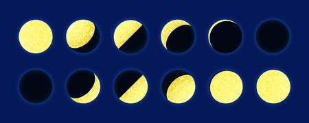 Set Golden Moon phase on dark blue background - vector illustration - gold texture Vettoriali