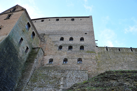 the walls of an ancient castle in a fortress in Narva, Estonia