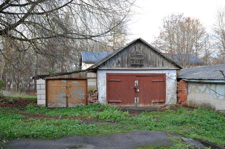 Narva, Estonia-November 3, 2018: old wooden garage in Narva, Estonia Editorial
