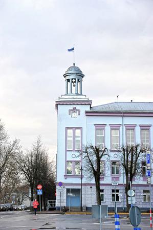 Narva, Estonia-November 3, 2018: Estonian flag at the city Council in Narva Editorial