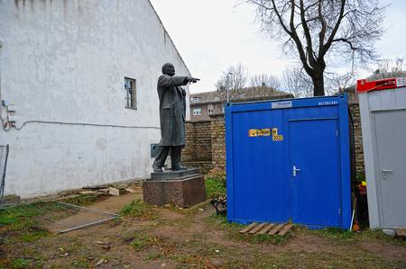 Narva, Estonia-November 3, 2018: Lenin monument in the Narva fortress