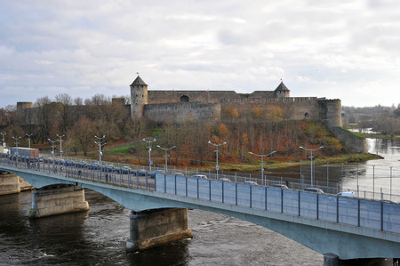 Narva, Estonia-November 3, 2018: bridge over Narva and view of the fortress in Ivangorod
