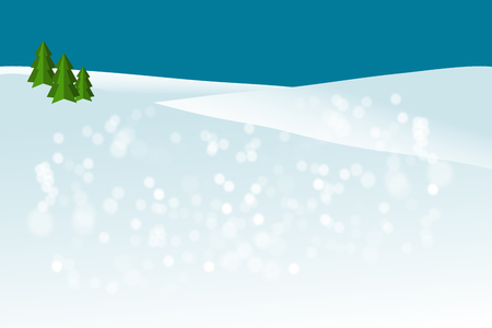 winter background with snow and Christmas trees - vector illustration