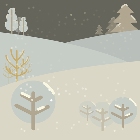 new year background-snow-covered forest and snowdrifts with trees and shrubs