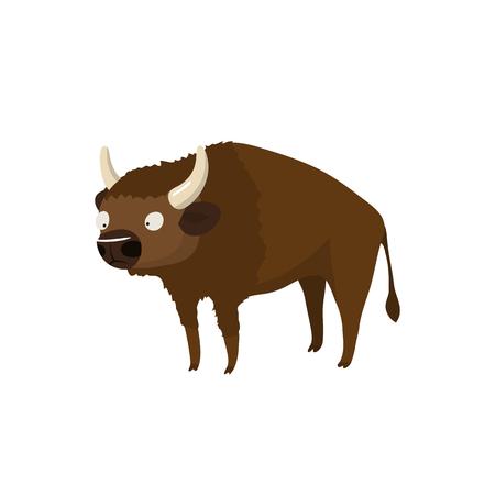 cartoon bison isolated on white backgroud - vector illustration Ilustrace