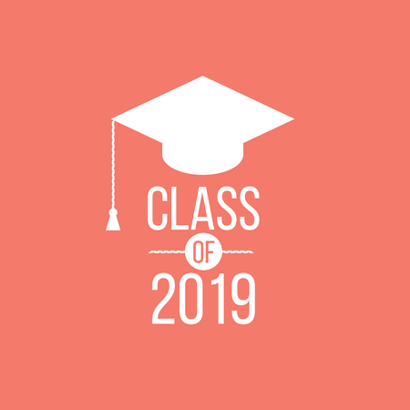 vector illustration of a graduating class in 2019 graphics elements for t-shirts, and the idea for the sign or badge