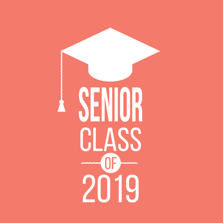 graduating senior class in 2019 graphic emblem for t-shirts, and the idea for the sign or badge