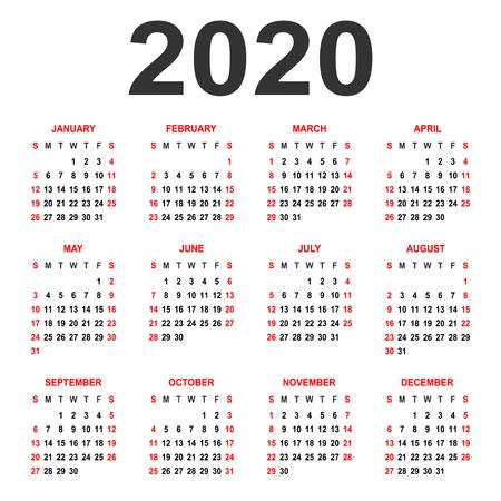 Kalendarz 2020. Tydzień zaczyna się w niedzielę. Siatka podstawowa - szablon do kalendarza rocznego 2020