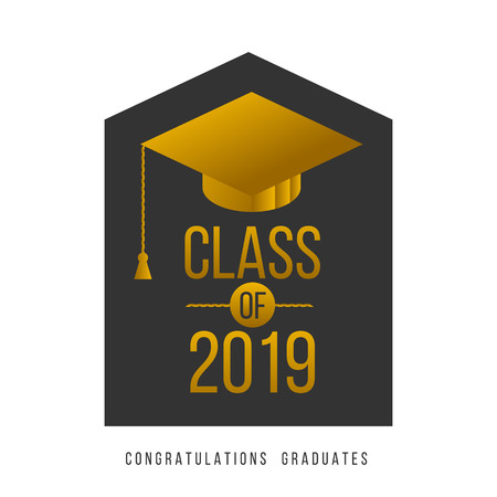 vector illustration of a graduating class in 2019 graphics gold elements for t-shirts, and the idea for the sign or badge