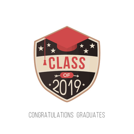 graduating class in 2019 graphic emblem for t-shirts, and the idea for the sign or badge