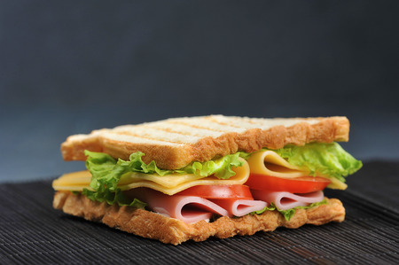 ham and cheese sandwich on a dark background 版權商用圖片