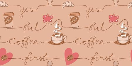 Arrière-plan transparent de café dessin au trait continu. Affirmation - Oui mais le café d'abord. Papillon de tasse de croissant de grain de café. Dessin à la main sur une pancarte ou des cartes de visite dans un café. Tirage à une ligne
