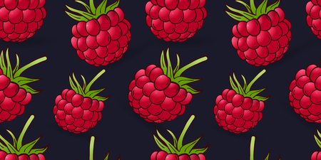 seamless pattern of raspberry on dark blue background 일러스트