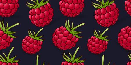 seamless pattern of raspberry on dark blue background Illustration