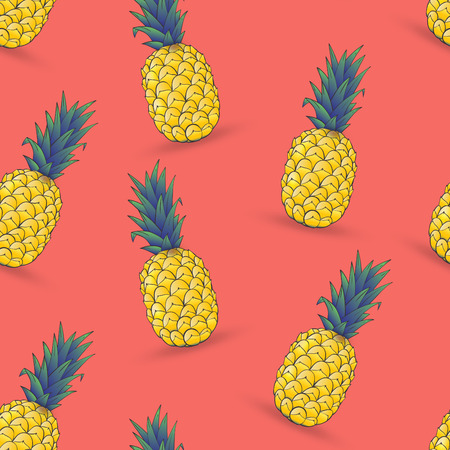 seamless pattern of pineapple on pink background