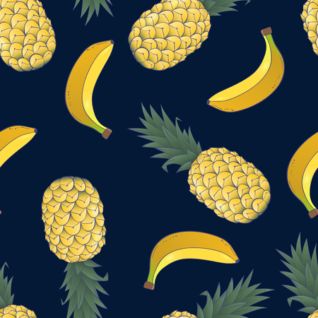 seamless pattern of pineapple and banana on blue background