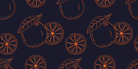 Seamless pattern with coloring vector hand drawn orange fruit. Decorative retro style collection farm product restaurant menu, market label Иллюстрация