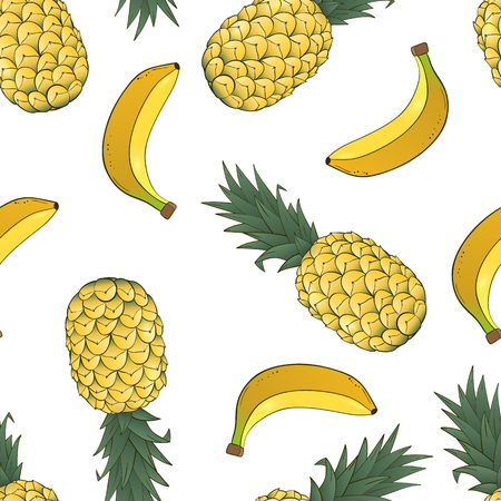 seamless pattern of pineapple and banana on white background