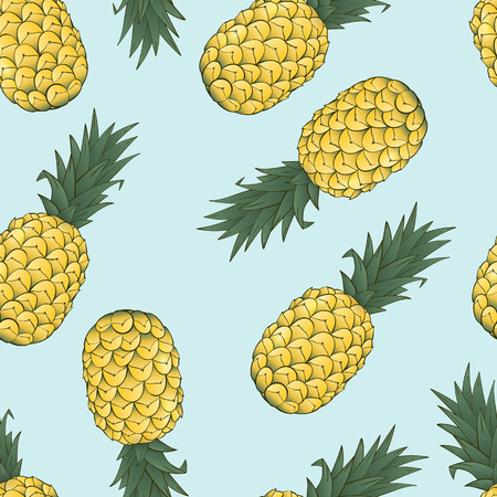 seamless pattern of pineapple on blue background Vector Illustration