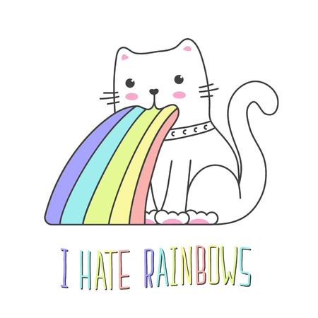 cute cat in kawaii style puking rainbow - handwritten inscription - I hate rainbows