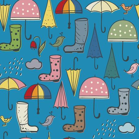 arrière-plan harmonieux de parapluies et de bottes, d'oiseaux de pluie et de printemps - objets dessinés à la main sur le thème des averses d'avril Vecteurs