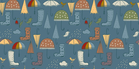 seamless background of umbrellas and boots, rain and spring birds - hand-drawn objects on the theme April Showers