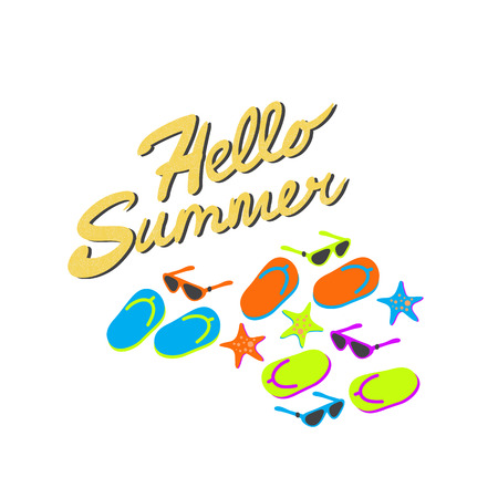 Hello summer sign and flip flops, sunglasses and starfish isolated on white background. Vector cartoon flip flops, sunglasses and starfish with text hello summer illustration