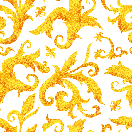 Seamless golden baroque pattern, rococo ornament. Rich luxury print – golf vector illustration with leafs on white background 矢量图像