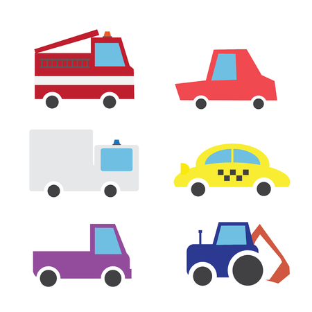 Set of cartoon comic cars