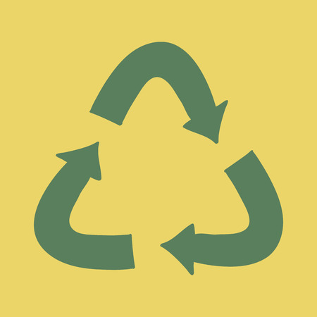 Recycle plastic vector concept illustration with green arrows - logo in cartoon style