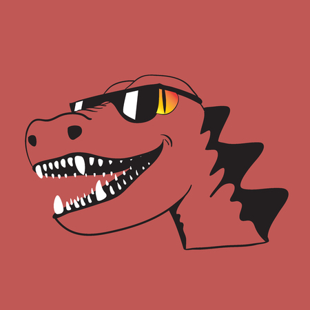 dinosaur in sunglasses with a smile. cartoon style vector illustration. print for t-shirt Illustration