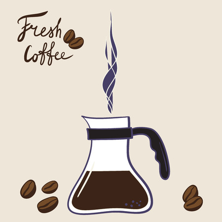 hand-drawn cartoon brewed coffee in the kettle with coffee, coffee beans, inscription - fresh coffee logo for the coffee shop Stock Vector - 124819485
