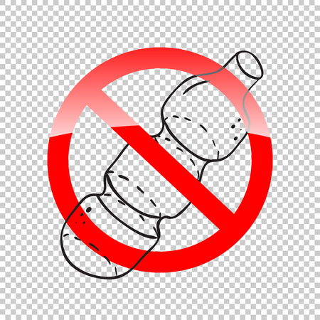 plastic bottle and red prohibition sign No on transparent background