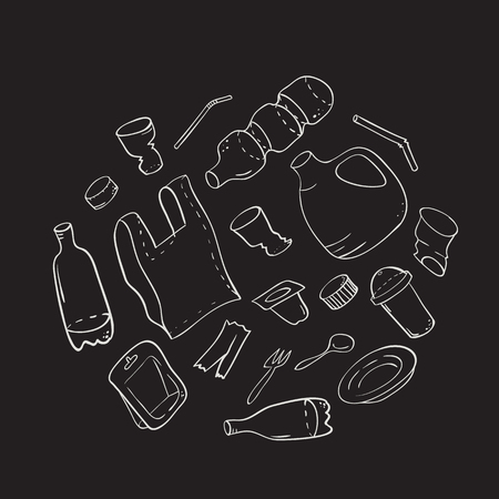 Set of transparent plastic package items in hand drawn line style. Plastic waste and pollution object vector background - concept of using plastic bottles and bags