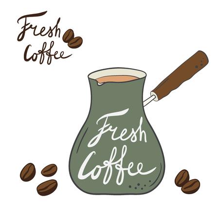 hand-drawn cartoon Turk with coffee, coffee beans, inscription - fresh coffee logo for the coffee shop