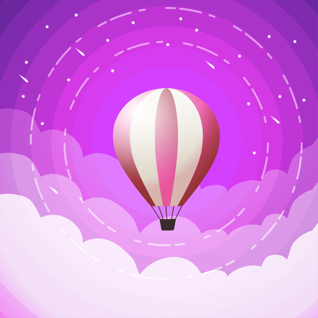 red hot air balloons flying in the purple sky. Flat cartoon design. Fantasy, creative, innovation, education symbol -  Hot air balloon in the sky with cosmic background Illustration