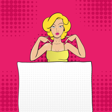 Pop art sexy woman pointing at blank sheet. Vector background in comic retro pop art style. Advertising poster or party invitation template