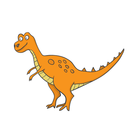 Cute dinosaur in comic cartoon style - dino vector illustration Illustration