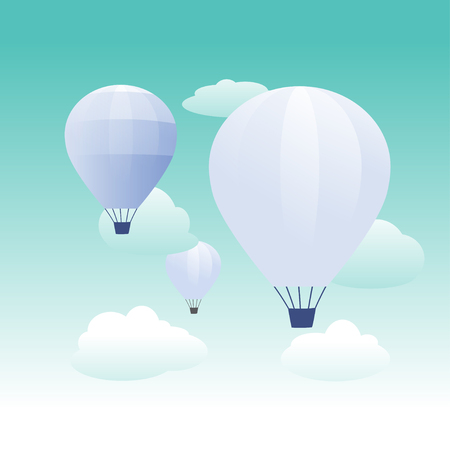 blue hot air balloons flying in the turquoise sky. Flat cartoon design. Fantasy, creative, innovation, education symbol -  Hot air balloon in the sky with cloud background - flat design Illustration