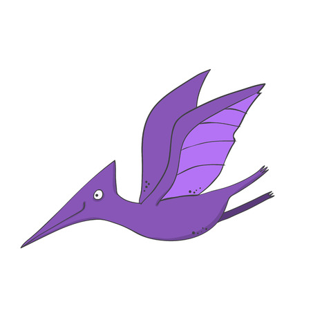 dinosaur pterodactyl in comic cartoon style - flying with spread wings